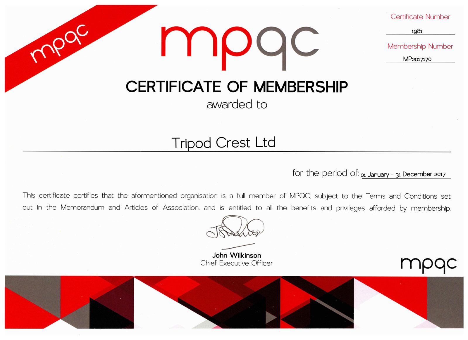 Mpqc Membership Certificate Exp 311217 1 Tripod Crest